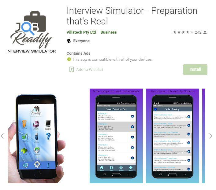simulateur d'entretien d'embauche via Google Play